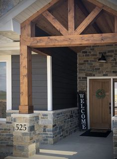 Modern craftsman front yard landscaping porch siding ideas & stone veneer outdoor patio diy home decor welcome sign modern rustic wood beam entrance design. Porch Beams, Front Porch Columns, House Columns, Porch Wood, Front Porch Design, Diy Porch, Craftsman Porch, Farmhouse Front Porches, Modern Craftsman