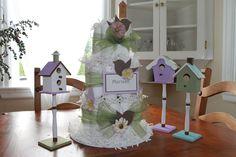 Bird themed baby shower diaper cake