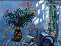 Interior with Flowers by Marc Chagall. Museums: Museum-Apartment of Isaak Brodsky, St. Medium: Tempera on paper; Marc Chagall, Henri Matisse, Chagall Paintings, Art Moderne, Claude Monet, French Artists, Oeuvre D'art, Picasso, Art Forms