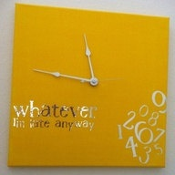 whatever I'm late anyway clock yellow w/ mirrored font by jennimo