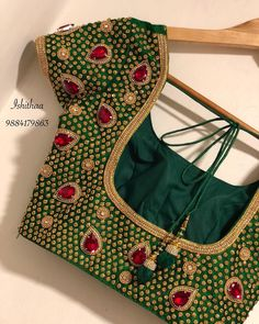 Beautiful green color designer blouse with hand embroidery kundan and kemp work. Bridal orders undertaken for December month. Bookings open from 27 th Call / WhatsApp 9003155128 for appointments. Stone Work Blouse, Hand Work Blouse Design, Simple Blouse Designs, Stylish Blouse Design, Aari Work Blouse, Pattu Saree Blouse Designs, Blouse Designs Silk, Designer Blouse Patterns, Bridal Blouse Designs