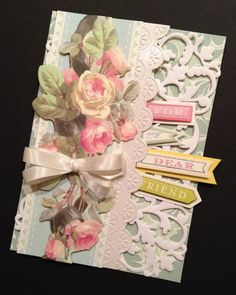 For a Dear Friend: Floral Shabby-Sweet All Occasion Rose Bouquet Card with Elegant Anna Griffin Papers