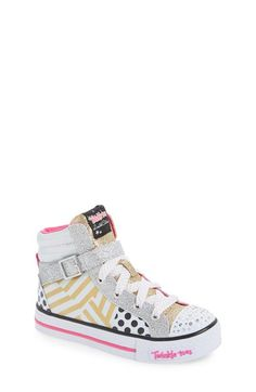 SKECHERS 'Twinkle Toes - Shuffles Dazzling Diva' Light-Up High Top Sneaker (Toddler & Little Kid)