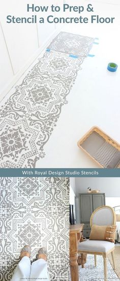 How to Prep and Paint a Concrete Floor with DIY Tile Stencils - Royal Design Studio Stencils Painted in Bedroom Makeover by The Crowned Goat Stenciled Concrete Floor, Painted Concrete Floors, Painting Concrete, Concrete Bedroom Floor, Diy Painting, Bedroom Flooring, Vinyl Flooring, Shabby Chic Homes, Wood Design