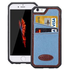 [USD2.65] [EUR2.42] [GBP1.91] Jeans Leather TPU Protective Case with Card Slot for iPhone 6 & 6s(Blue)