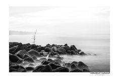A black and white minimalist landscape fine art photography of Bengkulu Long Beach Seascape by Agrandaiz Harahap Photography