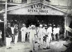 Members of the Partido Independista in front of the Manila Grand Opera House during a convention held on April Dominador Gomez, accompanied by his wife and child, is on the foreground. Philippines Culture, Manila Philippines, Retro Pi, President Of The Philippines, Jose Rizal, Filipiniana, Baguio, Cultural Events, Before Us