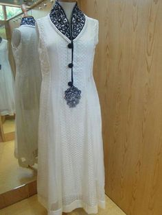 High neck white anarkali.. with black embroidery .. get it stitched at  myTailor. in