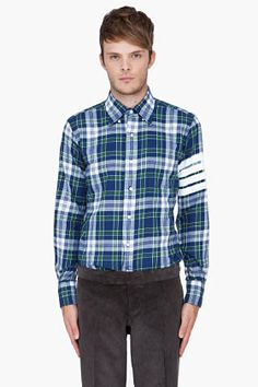 THOM BROWNE Green & Blue Plaid Flannel Shirt.