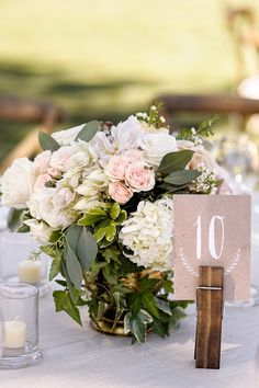 Rustic tablesetting and cute woodblock number card
