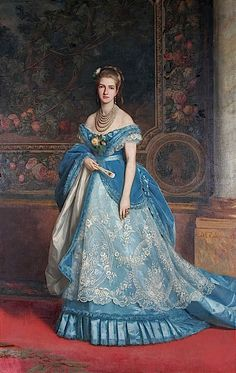 Princess Margherita of Savoy, Queen of Italty Portrait by Michele Gordigiani Margherita of Savoy, the first Queen of Italy, was . Victorian Paintings, Victorian Art, Victorian Women, Victorian Fashion, Vintage Fashion, Historical Costume, Historical Clothing, 1870s Fashion, Blue Evening Dresses