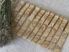 Vintage French Postmark Wooden Clothespins. $10.00, via Etsy.