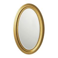 LEVANGER Mirror, oval, gold $79.99
