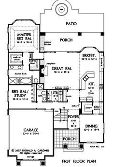 First Floor Plan of The Rangemoss - House Plan Number 1211