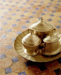 Moroccan tea containers. One for Sugar cubes, one for loose tea, one for fresh mint. Next to these on the table would be a fire source and boiling water teapot. SO aromatic!