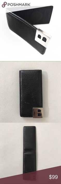 Bally black silver leather money clip Good used condition. Bally Accessories Money Clips