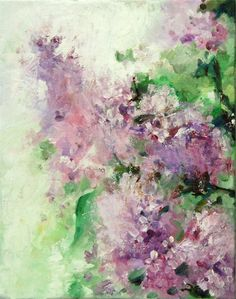 Abstract Flowers Painting, Original Oil Painting, Lilac Flowers, Palette Knife. on Etsy, $97.00