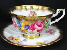 ROYAL-ALBERT-GOLD-CREST-SERIES-FLORAL-ROSE-TEA-CUP-AND-SAUCER