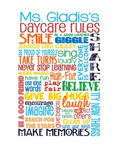 Daycare Rules - great gift for your Daycare provider!