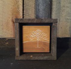 Engraved Art - Rustic - Primitive - Framed Art - Tree Painting - Landscape Painting - Folk Art - Minimalist Art - Reclaimed Wood - Sunset