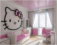 Kids Room: Modern Kid Study Room With Simple Hello Kitty Wall Decal And A Petite Chandelier Also White Pink Comfy Sofa And Bright Wooden Floor Design Ideas: Hello Kitty Decoration for Little Girls Bedroom