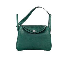 "Lindy Hermes bag in Titian green Niloticus crocodile leather Measures 12"" x 7.5"" x 6.5""<br />Shoulder strap and hand strap. Silver and palladium plated hardware"