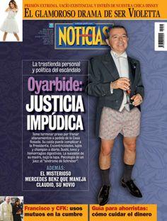 """Oyarbide y la """"Justicia impúdica"""" en la tapa de revista Noticias que sale esta noche."""