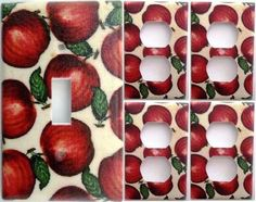 Apple Country Kitchen Wall Decor Light Switch Outlet Plate Set 1&4 Cooking Fruit