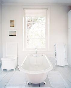 Country Traditional Bathroom: A freestanding claw-foot tub in a white bathroom. White Bathroom Interior, All White Bathroom, All White Room, White Rooms, White Bathrooms, Family Bathroom, Bathroom Photos, Bathroom Ideas, Design Bathroom