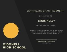 Use this customizable Black Achievement Certificate template and find more professional designs from Canva. Certificate Design, Certificate Templates, Plaque Design, Certificate Of Achievement, Poster Making, High School, Printables, Black, Free
