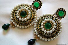 Polki Green Jadau Earrings Rajasthani by Store Utsav MRP:Rs.1,554/- Free Shipping & COD Available  Order Here: http://www.artncraftemporio.com/polki-green-jadau-earrings-rajasthani-by-store-utsav.html These stunning earrings are authentic, handmade Kundan Jewelry work of a Rajasthani Minakar. Set on an engraved Golden Metal Base with Zircon Stones, Pearls, and Maroon Glass Beads makes it a hallmark of aesthetic artistry. This is a must have to flaunt your fine choice