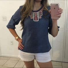 "NEW DENIM NAVY TOP NEW WITHOUT TAGS. 65% POLYESTER 35% COTTON. BEAUTIFUL FAUX DENIM TOP WITH A COLORED APLIQUÉ IN THE FRONT AND 3/4 SLEEVES WITH ELASTIC DETAIL. EASY TO COMBINE AND LOOKS AMAZING!  BUST S 17"" M 18"" L 19"" LENGHT S 23"" M 24"" L 25"". Tops"