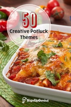 50 creative potluck themes. From comfort foods to a Mexican fiesta, these recipes are crowd pleasers!