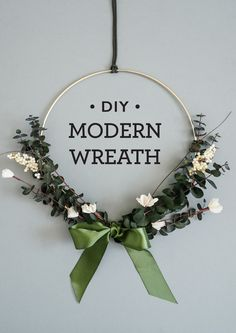 A super simple modern wreath DIY for the holidays! Christmas Holidays, Christmas Wreaths, Christmas Crafts, Christmas Decorations, Christmas Ornaments, Holiday Decor, Winter Holidays, Modern Wreath, Crafty Craft