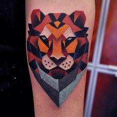 Geometric Lion Tattoo By Marcin Aleksander Surowiec