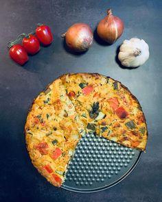 Zöldséges-tofus frittata Vegetable Pizza, Vegetables, Food, Essen, Vegetable Recipes, Meals, Yemek, Veggies, Eten