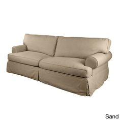 London Slipcovered Premium Linen Sofa   Overstock.com Shopping - Great Deals on Sofas & Loveseats