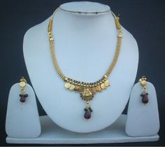 Necklace Earrings South Indian Coin Jewelry Ruby Emerald Polki Gold Plated Set  #polki