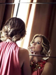 Emily Blunt for C wearing Gucci dress. Photo by Simon Emmett.