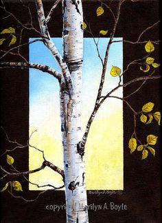 ACRYLIC PAINTING  BIRCH tree autumn season art by OriginalSandMore, $140.00