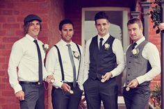 Thinking a scheme like this for the menfolk. Greg gets his black, Chris in a dark grey, and groomsmen in suspenders and tie, or something like that.
