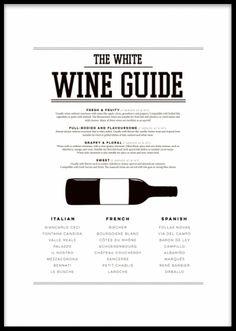 White wine guide poster. Snygg svartvit poster till köket med vinguide, vita viner. Perfekt för vinälskaren och supersnygg i köket i ram eller klämma. Finns även som rödvinsguide. Kombinera med våra affischer med styckningscchema i köket för en komplett look.