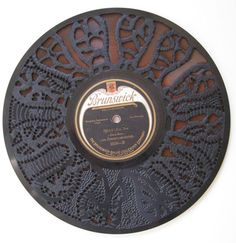 """""""Records bones"""" Carved record and ochre 25cm   """"Records dark matter"""" Carved record 25cm   """"Records revert to time"""" Carved record and ochre ..."""