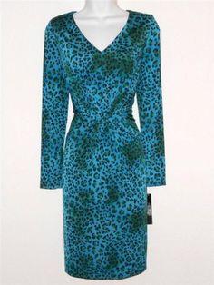 Tahari Arthur Levine Dress Size 8 Blue Green Leopard Animal Print Silky NWT
