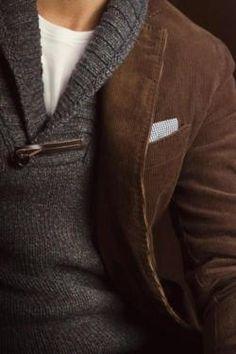 sweater and cord blazer