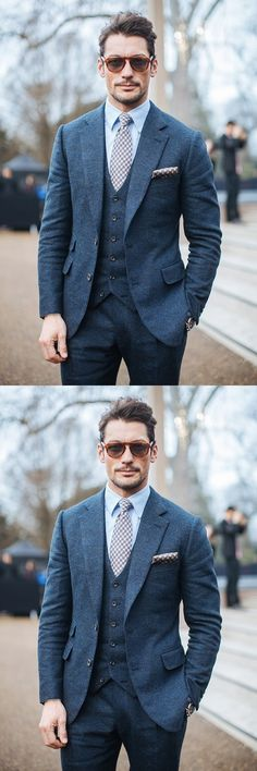 Latest Coat Pant Designs Navy Blue Tweed Wedding Prom Dinner Suits For Men 3 Piece Groom Tuxedos Italian Style Man Suit Terno