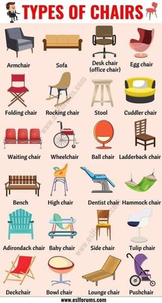 Types of Chairs: 25 Different Chair Styles with ESL Pictures - ESL Forums English Verbs, Learn English Grammar, English Vocabulary Words, Learn English Words, English Phrases, English Study, Fashion Vocabulary, Vocabulary Activities, Preschool Worksheets