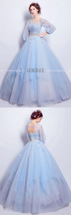Cinderella Blue Ball Gown Prom Dress With Puff Sleeves For Quinceanera Ref - Kleider - Wedding Prom Dresses With Sleeves, Prom Dresses Blue, Pretty Dresses, Homecoming Dresses, Beautiful Dresses, Dresses Dresses, Dance Dresses, Blue Ball Gowns, Ball Gowns Prom