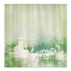 Green Japanese Garden Shower Curtain