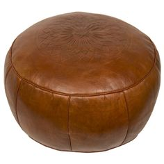 Moroccan Leather Pouf Ottoman III by Casablanca Market Round Leather Ottoman, Round Ottoman, Leather Poof, Soft Leather, Natural Leather, Pouf Chair, Sofas, Moroccan Leather Pouf, Moroccan Pouf